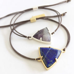 Lily Dilly Trillion Drawcord Bracelet in Gold/Lapis