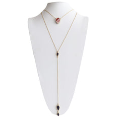 Layered Lariat Necklace in Rose