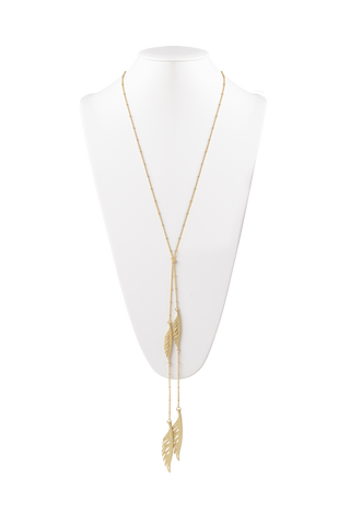 Feather Lariat Necklace in Matte Gold