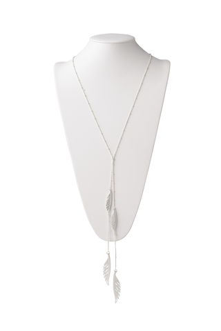 Feather Lariat Necklace in Matte Silver