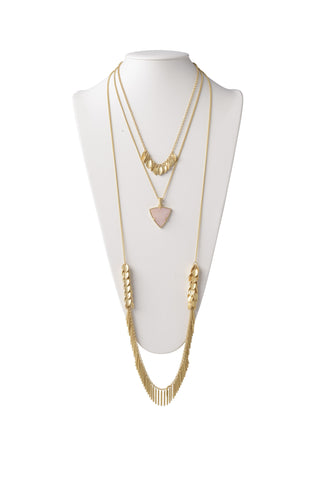Multi-Layered Necklace in Rose Quartz