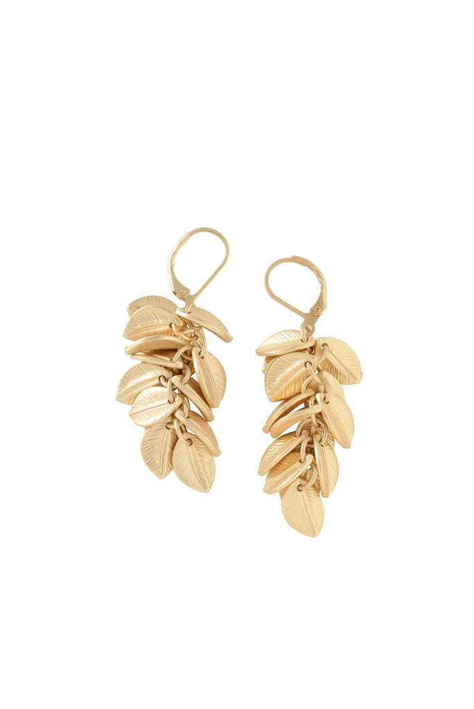 Palm Cluster Earrings in Matte Gold