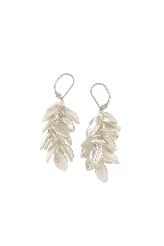 Palm Cluster Earrings in Matte Silver