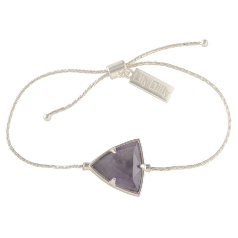 Lily Dilly Reversible Trillion Drawcord Bracelet in Silver/Amethyst