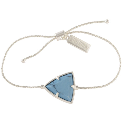 Lily Dilly Reversible Trillion Drawcord Bracelet in Silver/Turquoise