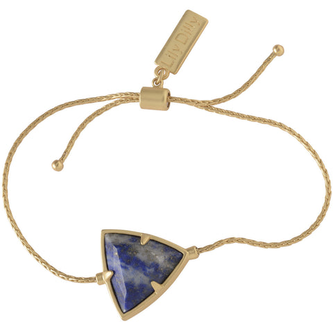 Lily Dilly Reversible Trillion Drawcord Bracelet in Gold/Lapis