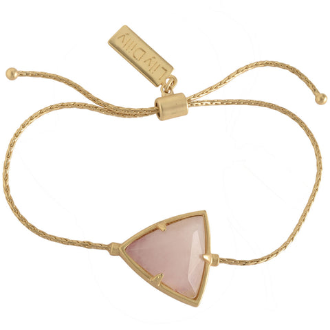 Lily Dilly Reversible Trillion Drawcord Bracelet in Gold/Rose Quartz