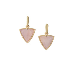 Reversible Trillion Earrings in Rose Quartz