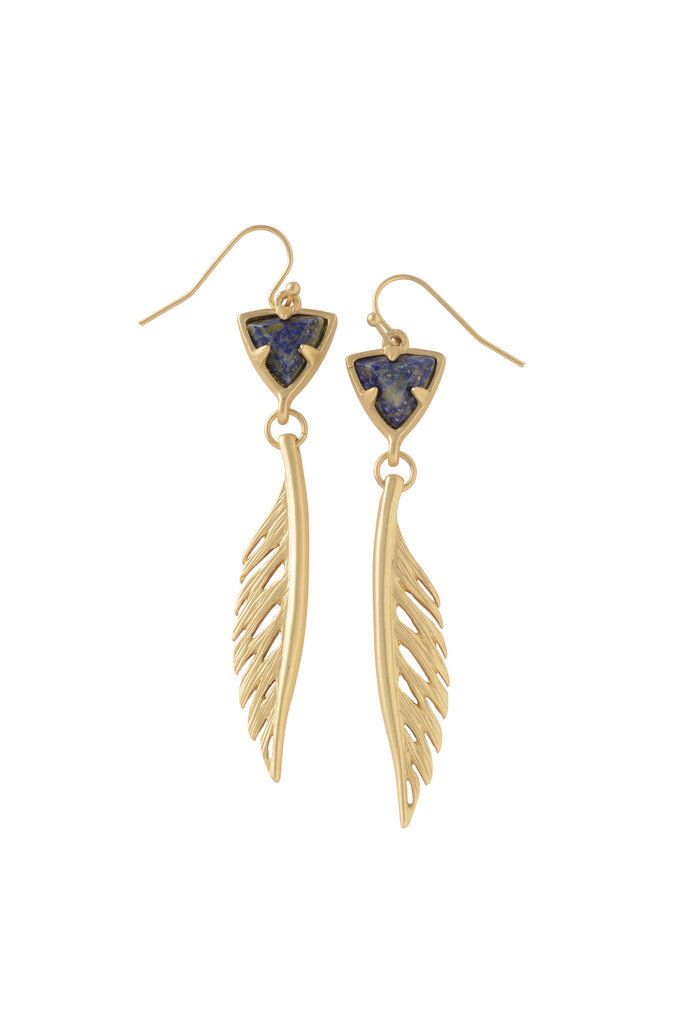 Trillion Feather Earrings in Lapis