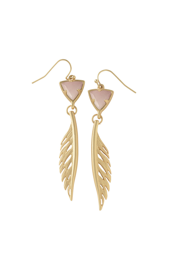 Trillion Feather Earrings in Rose Quartz