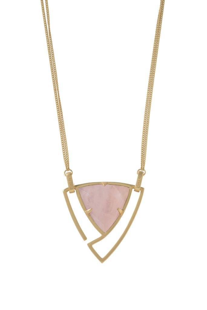 Convertible Trillion Statement Necklace in Rose Quartz