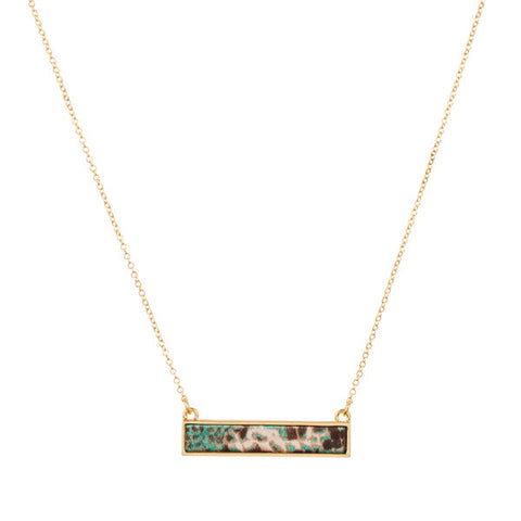 Lily Dilly Reversible Bar Necklace in Gold/Everglades