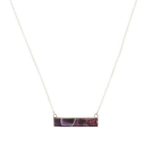 Lily Dilly Reversible Bar Necklace in Silver/Night Bloom