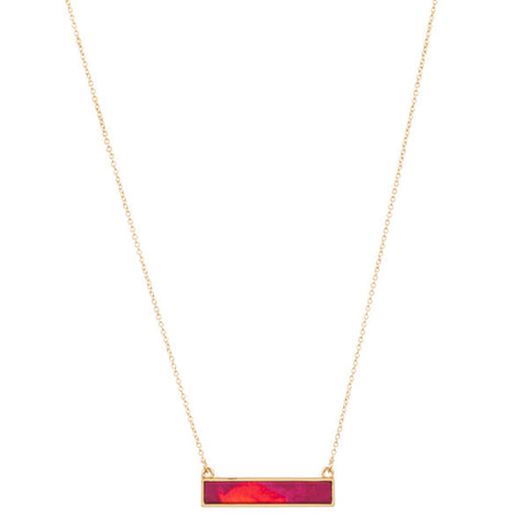 Lily Dilly Reversible Bar Necklace in Gold/Wildfire