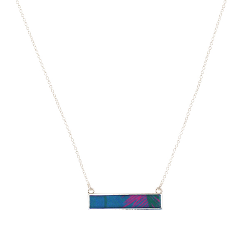 Lily Dilly Reversible Bar Necklace in Silver/West Palm