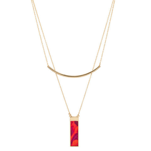 Lily Dilly 5 Way Reversible Layered Necklace in Gold/Wildfire