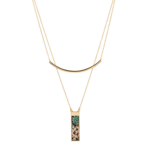 Lily Dilly 5 way Reversible Layered Necklace in Gold/Everglades