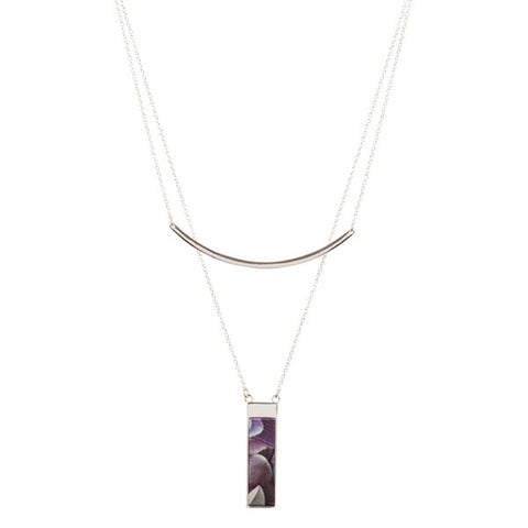 Lily Dilly 5 Way Reversible Layered Necklace in Silver/Night Bloom