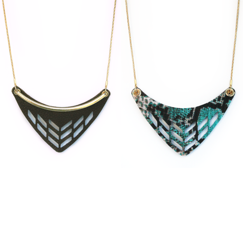 Reversible Leather Cut Out Necklace in Brown/Everglades