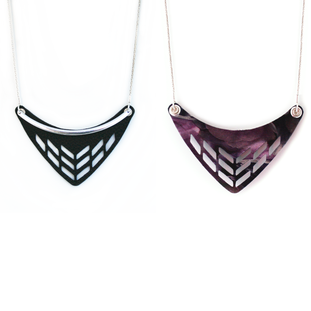 Reversible Leather Cut Out Necklace in Black/Night Bloom