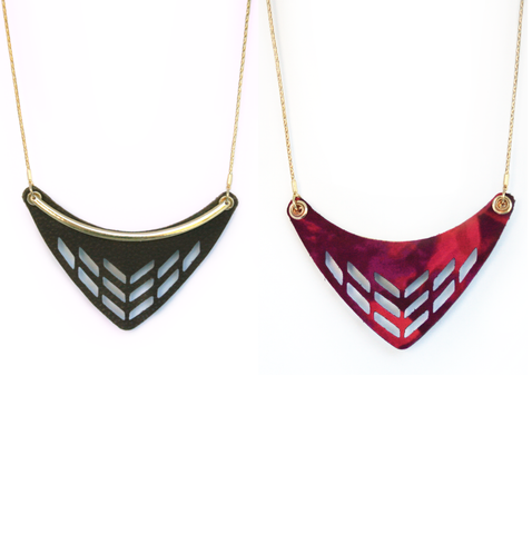 Reversible Leather Cut Out Necklace in Brown/Wildfire