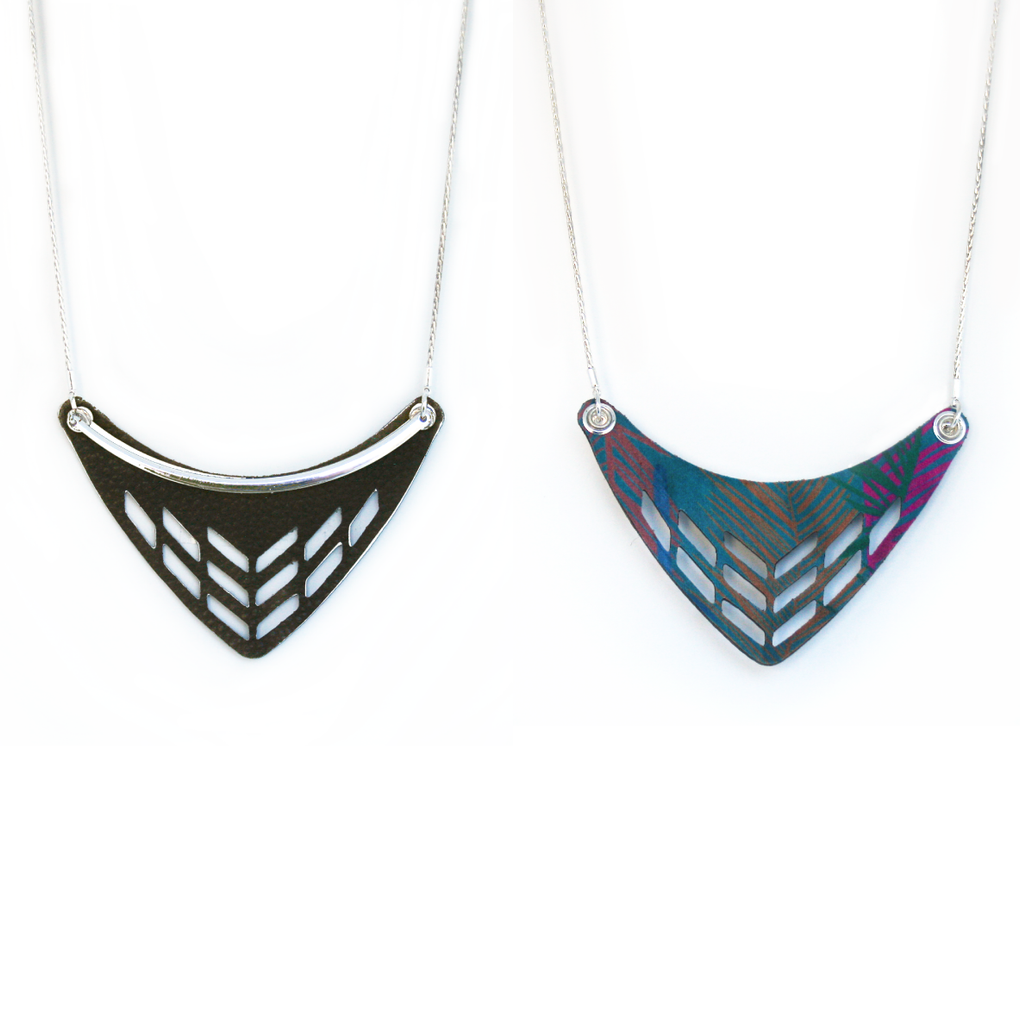 Reversible Leather Cut Out Necklace in Brown/West Palm