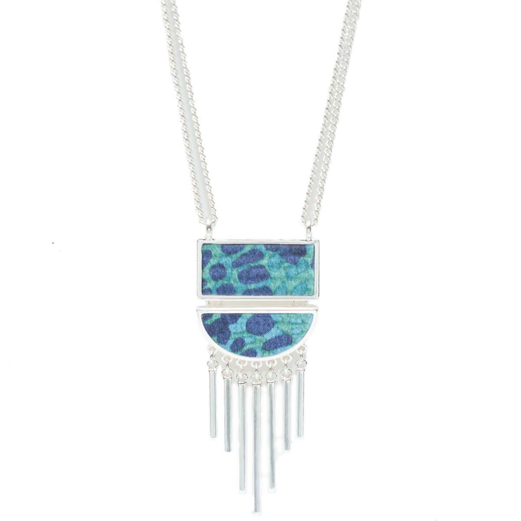 Convertible Half Moon Necklace in Aztec Blue