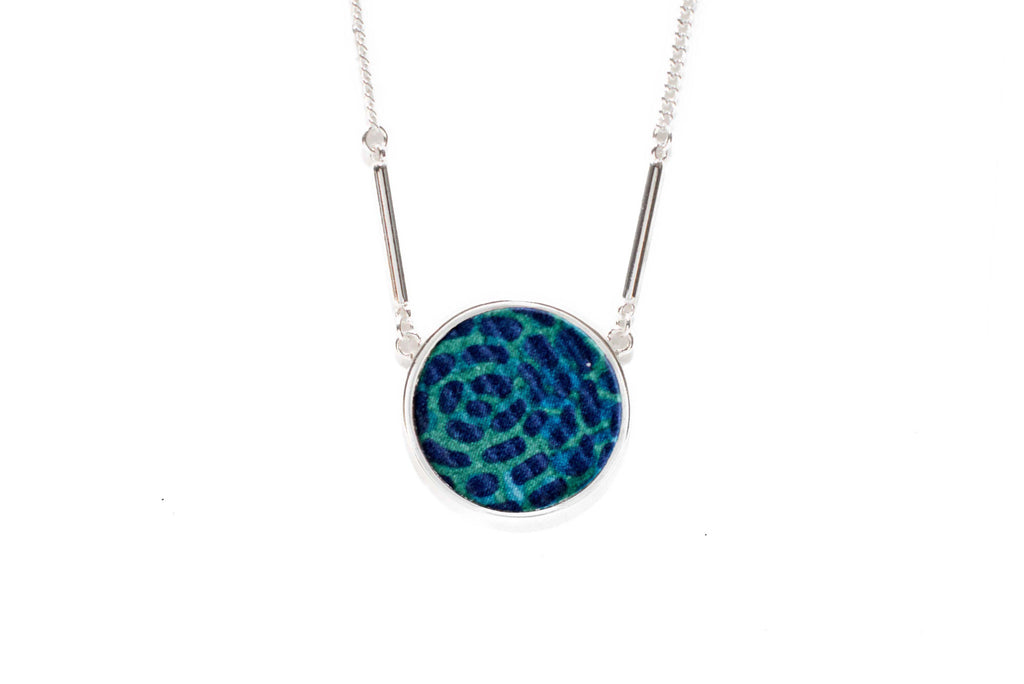 Reversible Circle Necklace in Aztec Blue