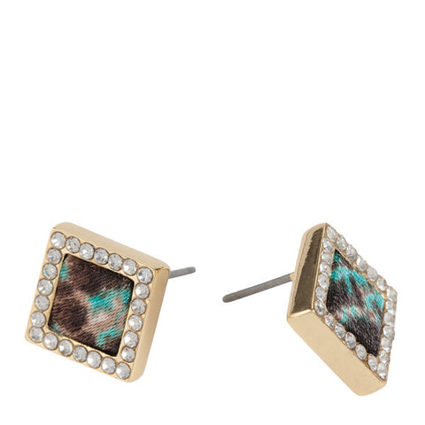 Square Stud Earrings in Everglades