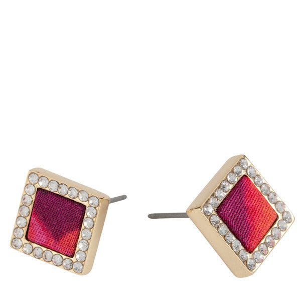 Square Stud Earrings in Wildfire