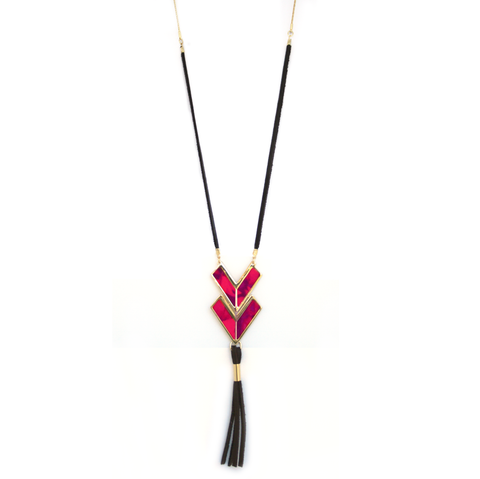 Adjustable Leather Tassel Necklace in Wildfire