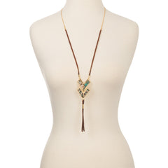 Adjustable Leather Tassel Necklace in Everglades