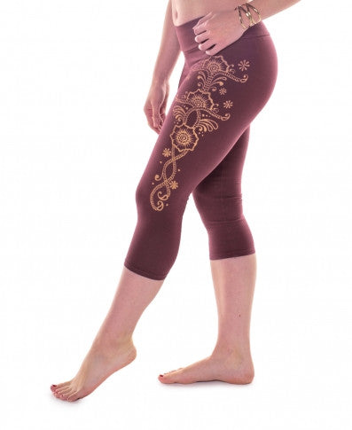 Soul Flower - Mardi Gras organic cotton CROPPED LEGGINGS
