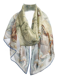 Alice in Wonderland Silk Chiffon Scarf