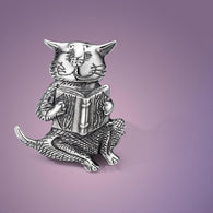 Edward Gorey Sterling Cat Reading a Book Pin