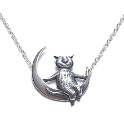 Edward Gorey Cat on a Moon Necklace