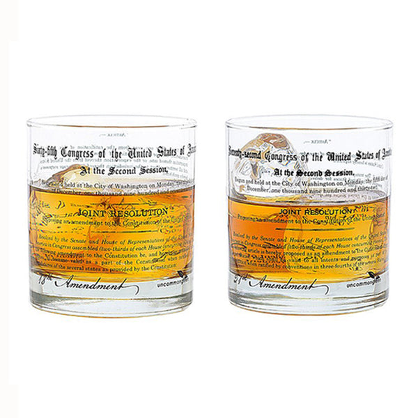 Prohibition and Repeal Amendments Rocks Glasses