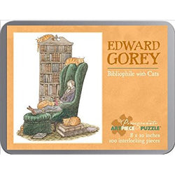 Edward Gorey Bibliophile with Cats 100-Piece Puzzle