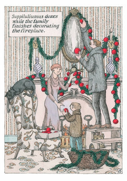Edward Gorey Decorating the Fireplace Holiday Cards
