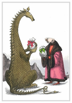 Edward Gorey Dragon and Man Exchange Gifts Holiday Cards
