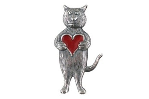 Edward Gorey Sterling Heart Cat Pin