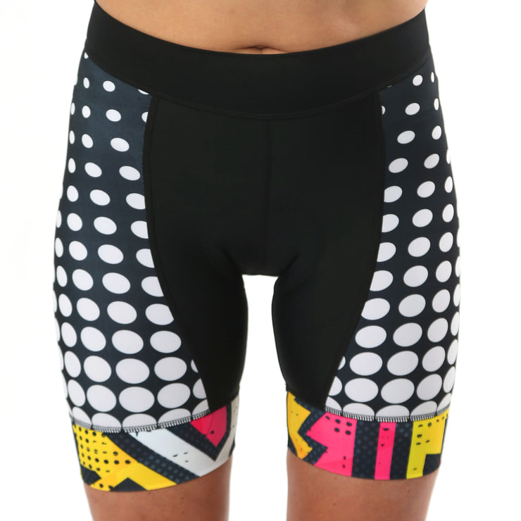 Model wearing BAM! Women's Band Cycling Shorts Front