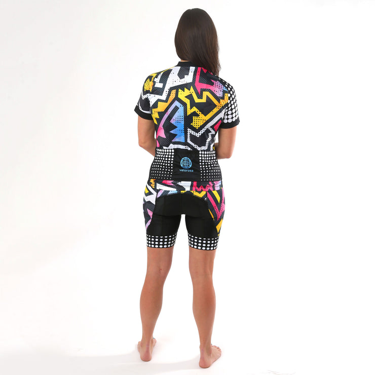 Model wearing BAM! Women's Biking Jersey Kit Back