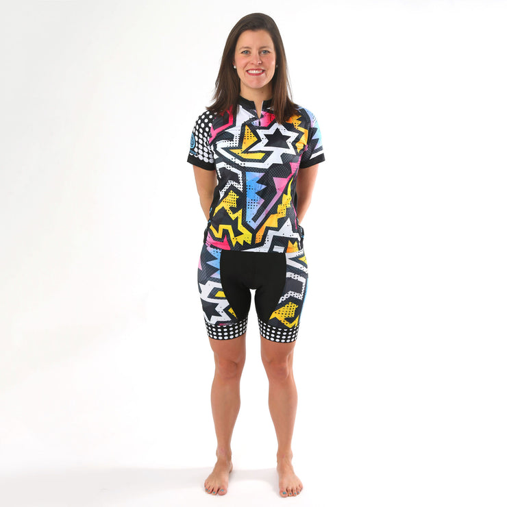 Model wearing BAM! Women's Cycling Jersey Kit Front