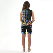 Model wearing BAM! Women's Band Biking Shorts Back