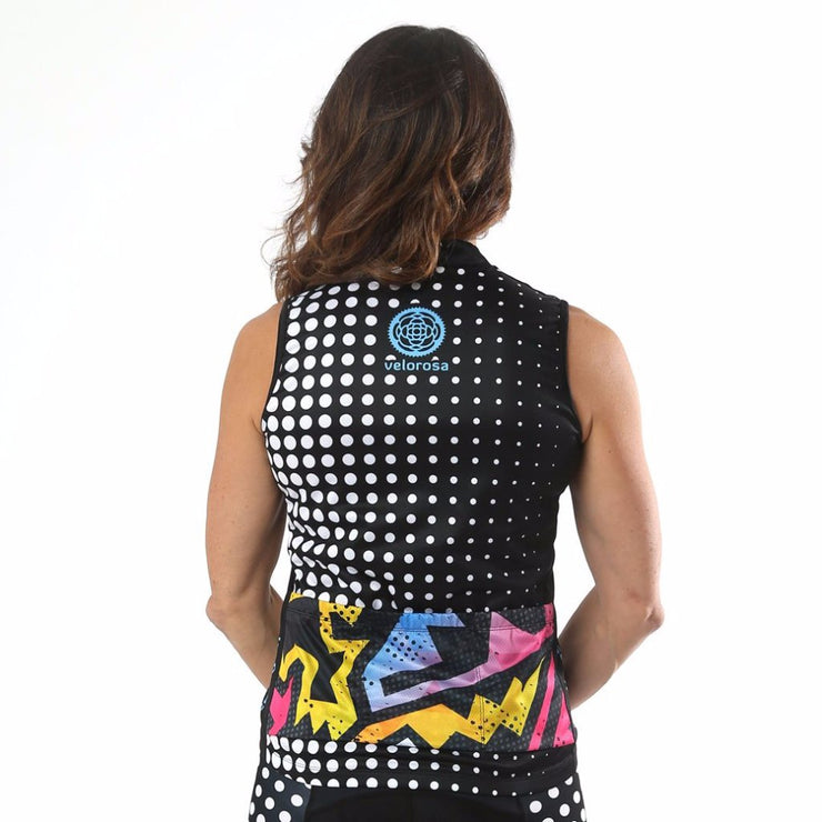 Model wearing BAM! Women's Sleeveless Biking Jersey Back