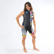 Model wearing BAM! Women's Band Cycling Shorts Kit Front