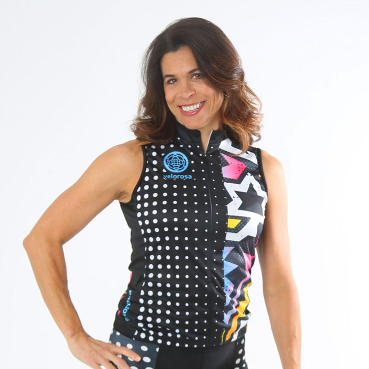 Model wearing BAM! Women's Sleeveless Cycling Jersey Front