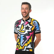 Model wearing BAM! Men's Cycling Jersey Front