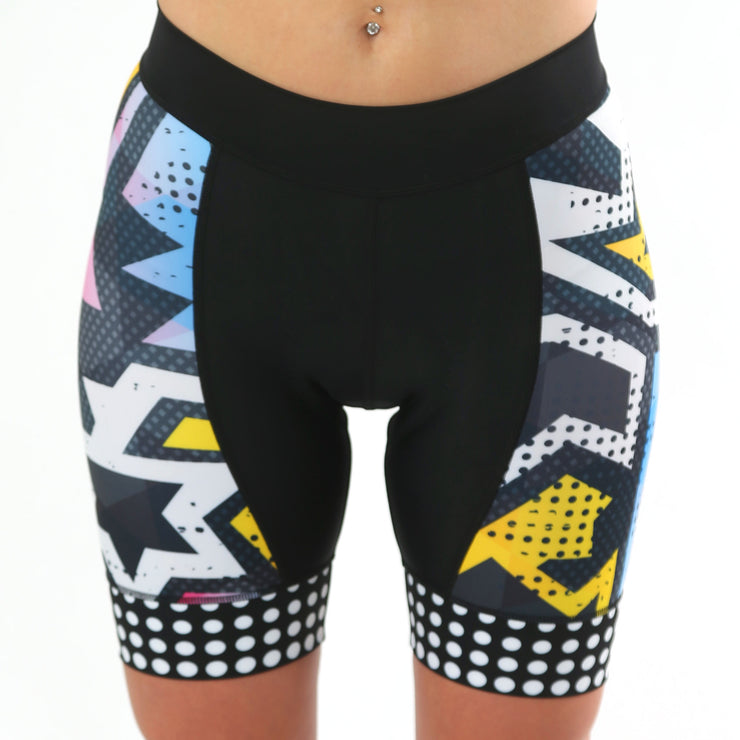 Model wearing BAM! Women's Panel Cycling Shorts Front